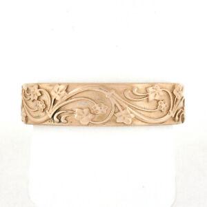 Unisex 14k Rose Gold 5.9mm Raised Floral Work on Matte Finish Eternity Band Ring