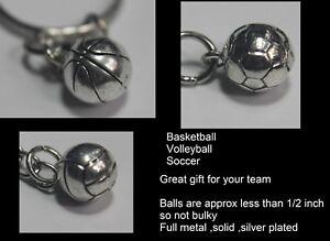 BASKETBALL VOLLEYBALL SOCCER FULLMETAL Silverplated  Keychain Key Chain Key Ring