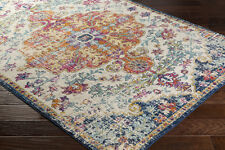 "4x6 (3'11"" x 5'7"") Traditional Oriental Distressed Blue Area Rug"