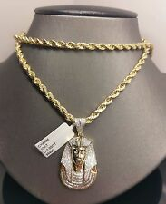 "10K Yellow Gold, 1.02 CT Diamond Egyptian Pharaoh charm With 10k 30"" Rope Chain"