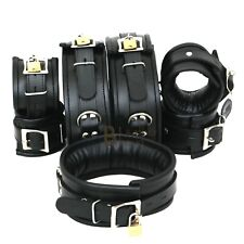 Thick Real Leather Wrist Ankle Thigh Cuffs & Collar Restraint Set Black 7 Pieces