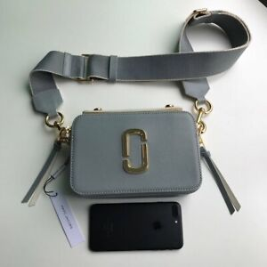 Marc Jacobs The Sure Shot Crossbody Bag Large Rock Grey Auth