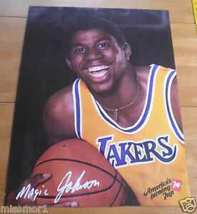 "1983 ? Magic Johnson Los Angeles Lakers 7UP promo poster 19x25"""