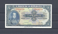 COLOMBIA BANKNOTES $5 1944 8 DIGITS