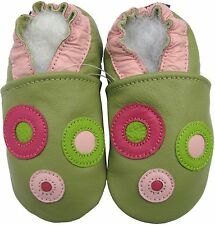 carozoo circle green 2-3 soft sole leather toddler shoes