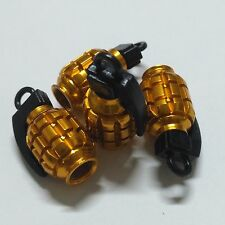 4 Pcs Universal Yellow Grenade Style Wheel Tyre Tire Valve Stem Cap Dust Covers