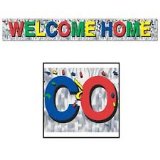 Metallic Welcome Home Fringe Banner Party Accessory 5 ft long x 8 in multicolor