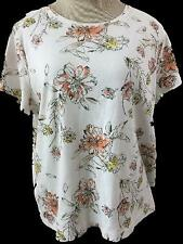 Croft & Barrow classic tee T top Size 2XL short sleeve orange yellow floral