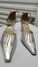 HENRY FERRERA COLLECT SILVER Glitter Ankle Strap Heel Shoes sz 39 WORN ONCE