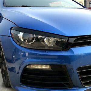 Front Gloss Black Headlight Eyelid Eyebrow Trims For VW Scirocco R GTS 08-17