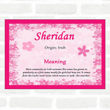Sheridan Name Meaning Pink Certificate