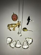 Lot Of Vintage Jewelry Pin Crystal Beads Necklace Hummingbird Donkey Mouse