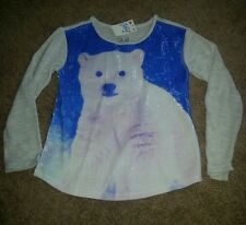Girl's Justice long sleeved embellished polar bear shirt Sz 5 NWT