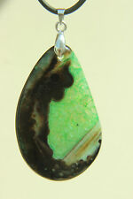 GREEN & BLACK Polished AGATE Teardrop PEAR PENDANT Necklace 925 Silver Bale