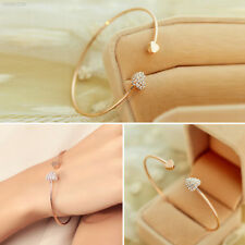 F887 New Fashion Women Gold Plated Rhinestone Heart Love Cuff Bracelet Bangle