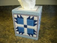 TISSUE BOX COVER - MOM'S QUILT BLOCK (BLUE)- Plastic Canvas