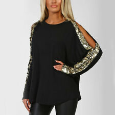 UK Womens Cold Shoulder Sequin T-Shirt Ladies Long Sleeve Glitter Tops Blouse