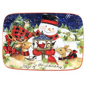 Tabletop Magic Christmas Snowman Platter Earthenware Rectangle 28308