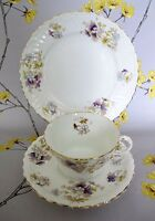 Antique Victorian Staffordshire Longton tea cup trio: cup, saucer and plate.