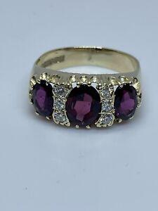 Vintage Almandine Garnet And Diamond Ring In 9ct Gold 1973