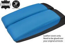 BLUE GENUINE LEATHER 2X ARMREST LID COVERS FITS AUDI A8 2003-10