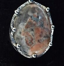 Retro Large Signet Type Ring Rose/Grey Marbled Stone with Silver Plate Size 10