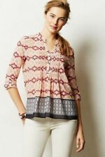 Kaveri Henley Size 2, Printed Swingy Top Blouse By HD in Paris Anthropologie