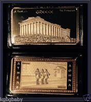 ATHENS_EVZONES / ACROPOLIS_PARTHENON - GOLD Plated collectable INGOT