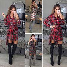 Womens Check Shirt Mini Dress Ladies Cotton Long Sleeve Plaid Romper Party Dress