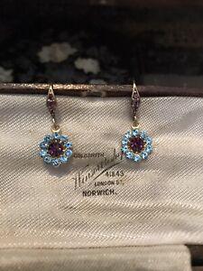 Vintage Aquamarine & Amethyst Crystal Drop Pierced Earrings West Ham Aston Villa
