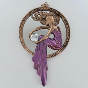 Art Nouveau Lady Cold Cast Bronze Wall Hanging Mirror Plaque / Figurine.New