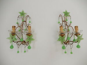 ~c 1920 French Giltwood Green OPALINE Crystal Murano Flowers Drops Sconces~