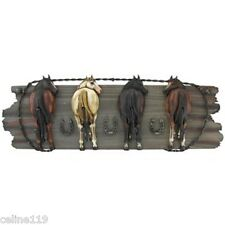 "NEW LARGE ""Four Horse Hooks on Wood Plaque"" Western Home Decor. SALE!!"