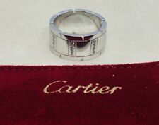 Cartier France Authentic 18k White Gold Diamond Tank Francaise Ring Size 56