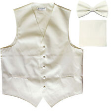 New Men's formal vest Tuxedo Waistcoat_bowtie & hankie set cream wedding