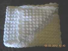 BABY BLANKET CROCHET WHITE
