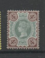 GB 1887-1900 4d green & purple-brown SG205 very lightly mounted mint MLH stamp