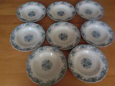8 John Maddock  & Sons Blue (with a hint of green) Majestic Soup Bowls