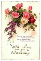Antique colour printed postcard card With Love on your Birthday roses