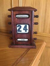 Perpetual Period desk top calendar, mahogany