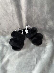 Ugg Oh Yeah Black Slides Sandals Infant/Toddler size 6