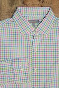 Peter Millar Men Large Nylon Wicking Check Button Shirt Summer Comfort Style B53
