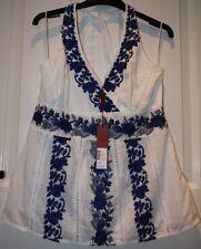 BNWT £45 Monsoon White & Cobalt Blue Embroidered Flower Halterneck Cotton Top 14