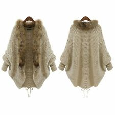 Women Knitted Faux Fur Sweater Batwing Sleeve Cardigan Loose Outwear Coat Jacket