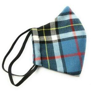 Face Mask Scottish Thomson Blue Tartan Handmade in Scotland Wool New
