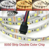 LED Strip Light Dimmable 5050 60Leds/M 5M White/Warm White Double Color DC 12V