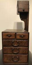 VINTAGE JAPANESE WOODEN TANSU SEWING CHEST / BOX WITH ORIGINAL RULER