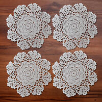 4Pcs/Lot White Hand Vintage Round Crochet Lace Doilies Cotton Home Wedding 7.8""