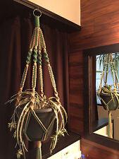 Macrame Plant Hanger Sage and Sand 12 Tan BEADS