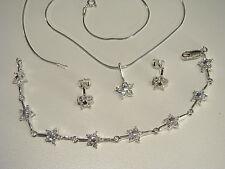 Sólido 925 plata esterlina joyas conjunto pendientes de pulsera de Circonio Cúbico Colgante